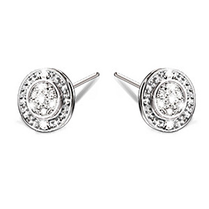 Genuine Diamond And Solid Sterling Silver Earrings