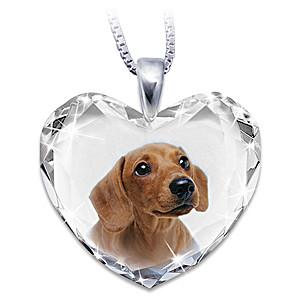Dachshund Portrait Crystal Heart Pendant Necklace