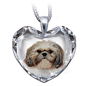 Shih Tzu Portrait Crystal Heart Pendant Necklace