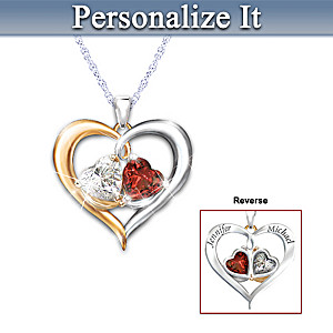 Personalized Pendant With Genuine Garnet And White Topaz