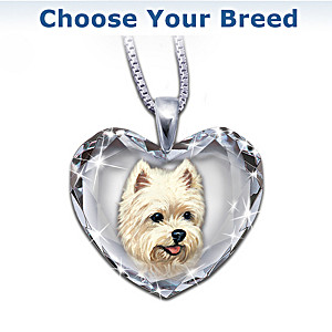 Dog Portrait Crystal Heart Pendant Necklace