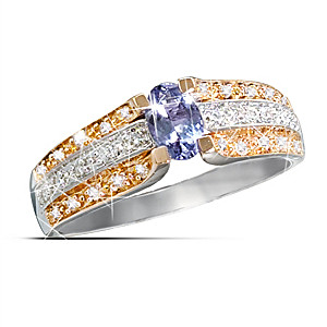 10K Gold Genuine Tanzanite Ring With 30 Diamonds