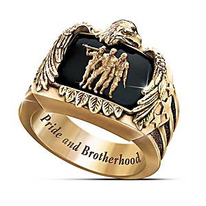 """The """"Veteran's Pride And Brotherhood"""" Men's Ring"""