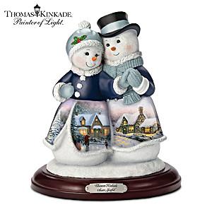 """Thomas Kinkade """"Snow Joyful"""" Couple Musical Figurine"""