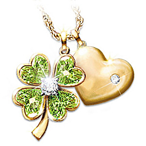 "The ""Good Luck"" Diamond & Peridot Pendant Necklace"