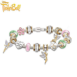 Sterling Silver Tinker Bell Charm Bracelet With Crystals