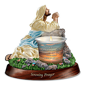 Serenity Prayer Religious Sculptural Tealight Candleholder
