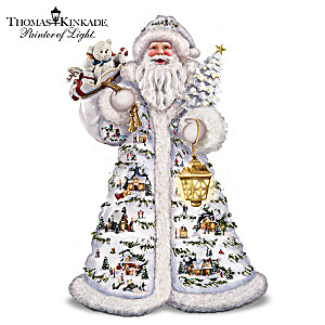 Kinkade Father Christmas Figurine With 15 Villages, Lights