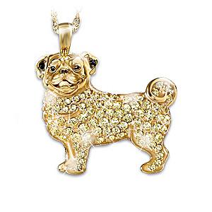 Pug Pendant With Golden Blonde Swarovski Crystals