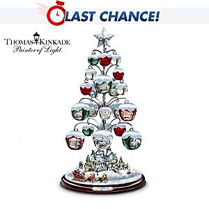 Thomas Kinkade Sleigh Bell Ornament Tabletop Tree