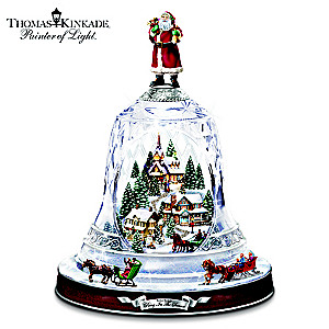 Thomas Kinkade Musical Crystal Bell With 2 Moving Sleighs