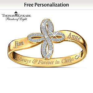 Thomas Kinkade Personalized Religious Couples Ring