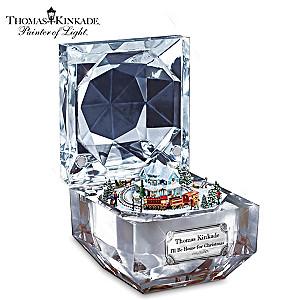 Thomas Kinkade Christmas Music Box With Moving Train