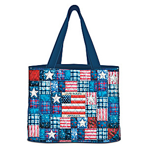 Patriotic Patchwork-Inspired Quilted Women's Tote Bag