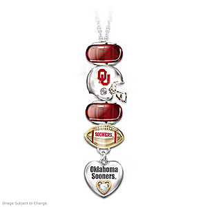 Oklahoma Sooners Charm Necklace With Swarovski Crystals