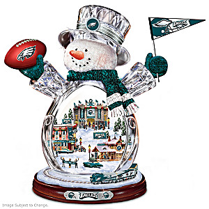 Philadelphia Eagles Illuminated Crystal Snowman Figurine