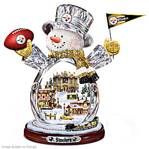 Pittsburgh Steelers Crystal Snowman With Moving Train