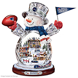 New England Patriots Crystal Snowman With Moving Train