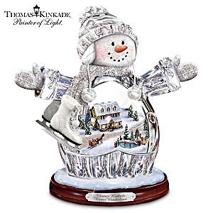 Thomas Kinkade Illuminated Crystal Snow Girl Figurine