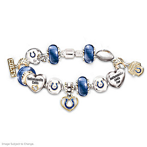 Indianapolis Colts Charm Bracelet With Swarovski Crystals