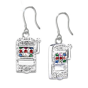 Ladies Jackpot Pierced Earrings With Swarovski Crystals