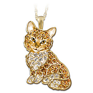 Purr fect kitten crystal pendant necklace solid sterling silver cat pendant with swarovski crystals aloadofball Choice Image
