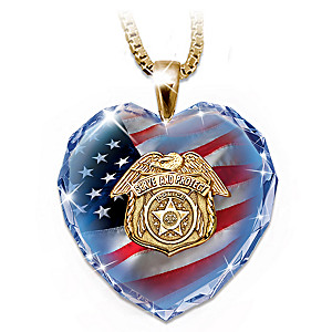 Police Tribute Faceted Crystal Heart With 24K-Gold Plating