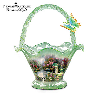 Thomas Kinkade Garden Of Prayer Hand-Blown Art Glass Bowl
