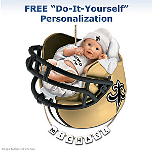 "Personalized ""Saints Fan"" Baby's First Christmas Ornament"
