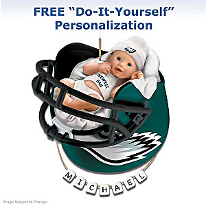 """Personalized """"Eagles Fan"""" Baby's First Christmas Ornament"""