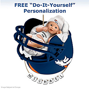 "Personalized ""Broncos Fan"" Baby's First Christmas Ornament"