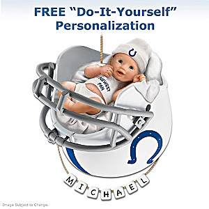 "Personalized ""Colts Fan"" Baby's First Christmas Ornament"