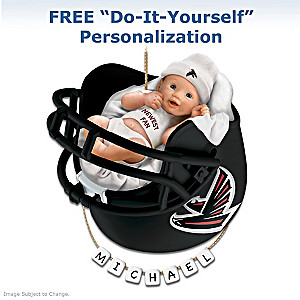 "Personalized ""Falcons Fan"" Baby's First Christmas Ornament"