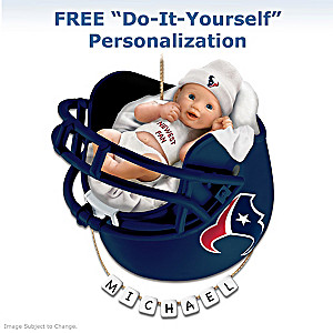 "Personalized ""Texans Fan"" Baby's First Christmas Ornament"
