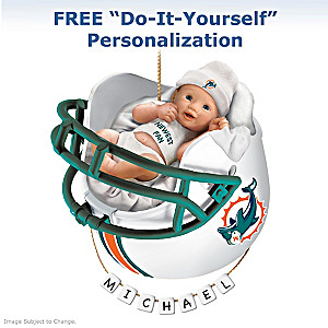 "Personalized ""Dolphins Fan"" Baby's First Christmas Ornament"
