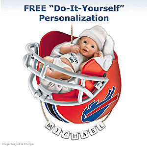 "Personalized ""Bills Fan"" Baby's 1st Christmas Ornament"