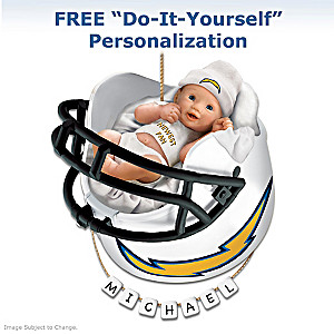 "Personalized ""Chargers Fan"" Baby's 1st Christmas Ornament"