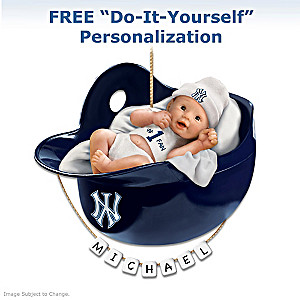 "Personalized ""Yankees Fan"" Baby's First Christmas Ornament"