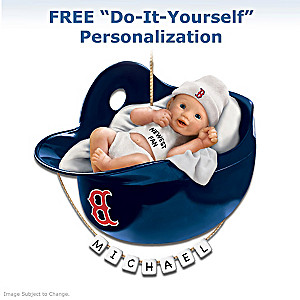 "Personalized ""Red Sox Fan"" Baby's First Christmas Ornament"
