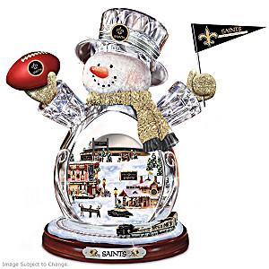 New Orleans Saints Snowman With Lighted Village