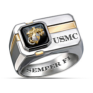 """For My Marine"" Engraved Men's Ring With Special Poem"