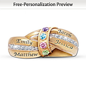 """A Mother's Embrace"" Ring With Birthstones And Names"