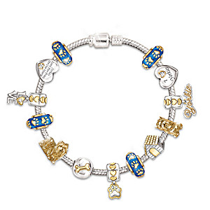 Yorkie Charm Bracelet With Sterling Silver And Crystals