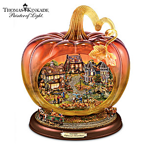 Thomas Kinkade Glass Pumpkin With Lit Village, Moving Wagons