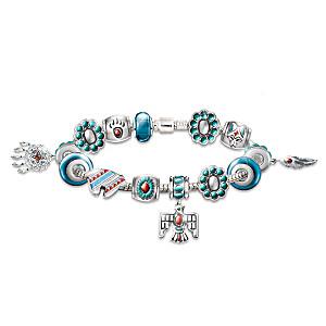 Native American-Inspired Enameled Beaded Charm Bracelet