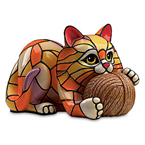 Louis Comfort Tiffany-Style Cat Lamp