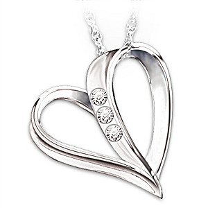 Heart-Shaped 3 Diamond Pendant Necklace From Dad