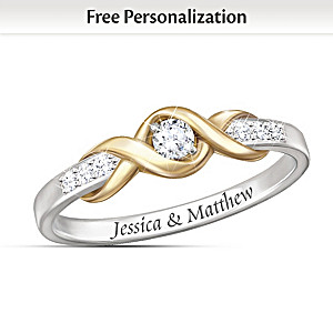 Infinite Love 10K Gold Personalized Solitaire Diamond Ring
