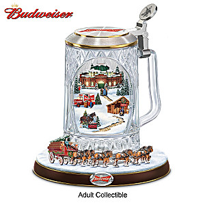 """Budweiser """"Holiday Cheers"""" Stein With Lights, Motion, Music"""