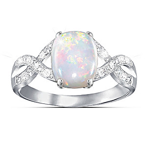 Women's Australian Opal Ring With 12 Diamonds